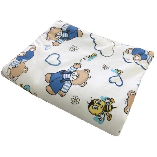 Lenjerie 3 piese din finet flannel pat 120x60 cm Deseda Ursi cu albine albastru