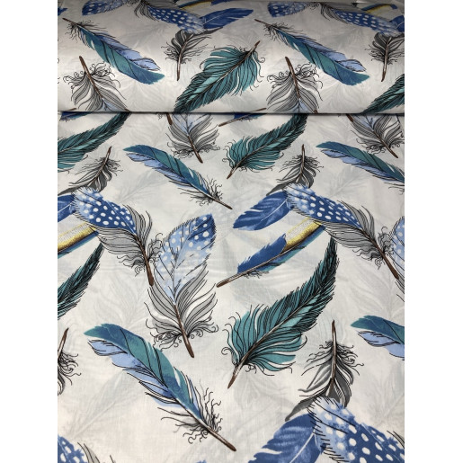 Cearsaf de pat cu elastic roata, imprimeu Pene bleu