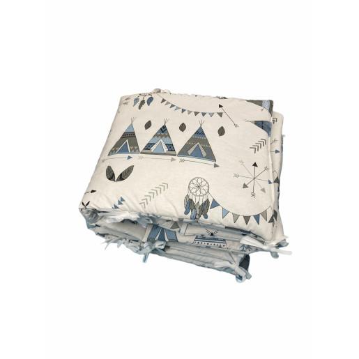 Aparatori laterale protectii laterale pat pufoase 120x60 cm h35cm Deseda Corturi de indian gri