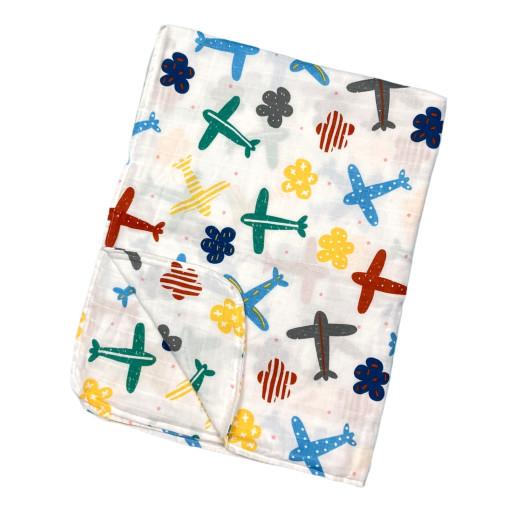 Paturica dubla de muselină Avioane colorate