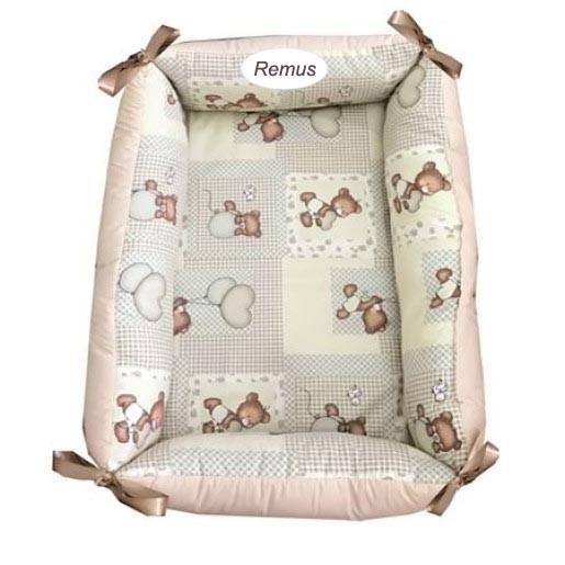 Reductor Personalizat Bebe Bed Nest Deseda Ursuleti bej in carouri