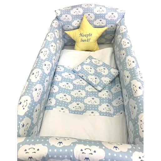 Lenjerie de patut bebelusi 9 piese pat 120x60 cm cu baldachin si aparatori Maxi Deseda Steluta Noapte buna Albastru