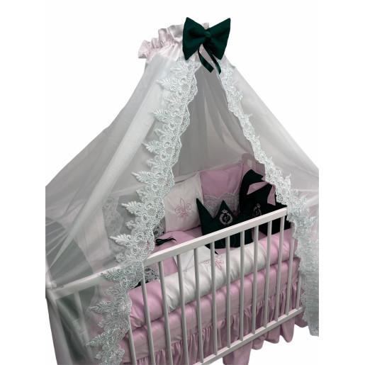 Lenjeria cu 6 pernuțe cearșaf, păturică și bumper Arabic Lux by Deseda Roz pal
