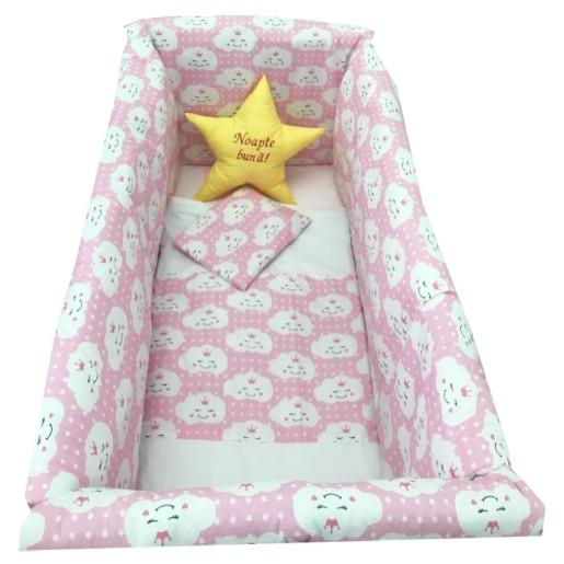 Lenjerie de patut bebelusi 120x60 cm cu aparatori Maxi Deseda Steluta Noapte buna Roz
