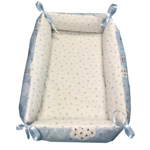 Reductor Personalizat Bebe Bed Nest cu paturica si pernuta antiplagiocefalie Deseda Norisori cu luna albastra