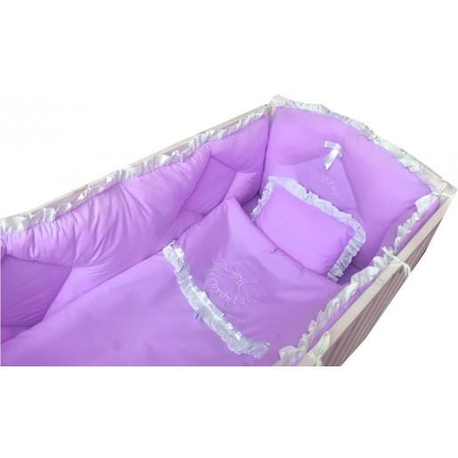 Lenjerie de pat brodata pentru bebelusi mov
