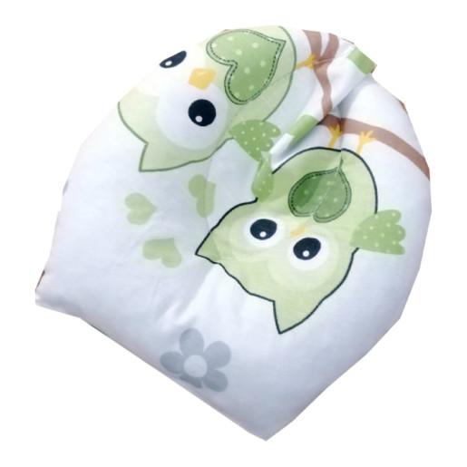 Set Personalizat antiregurgitare si pozitionare cu plan inclinat pentru bebelusi Deseda Bufnite verzi