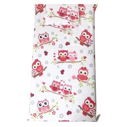 Cearsaf de pat cu elastic roata, imprimeu Bufnite rosii