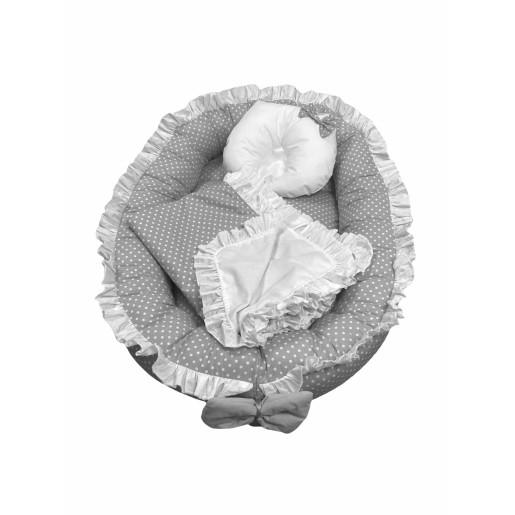 Cuib baby nest bebelusi cu volanase Gri cu buline albe LUX by Deseda