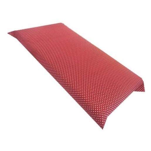 Cearsaf de pat cu elastic roata, imprimeu Buline pe rosu