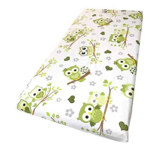 Cearsaf de pat cu elastic roata, imprimeu Bufnite verzi
