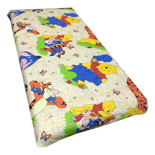 Cearsaf de pat cu elastic roata, imprimeu Aiurila bej