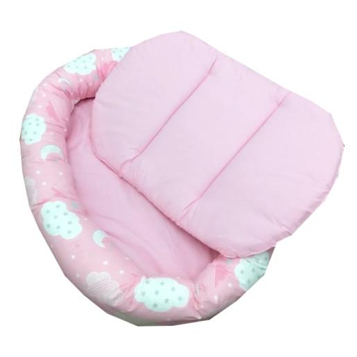 Cuib baby nest bebelusi forma ovala Roz cu norisori si luna