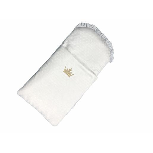 Set Sac de dormit pentru cărucior cu păturică dubla brodate din brocard alb