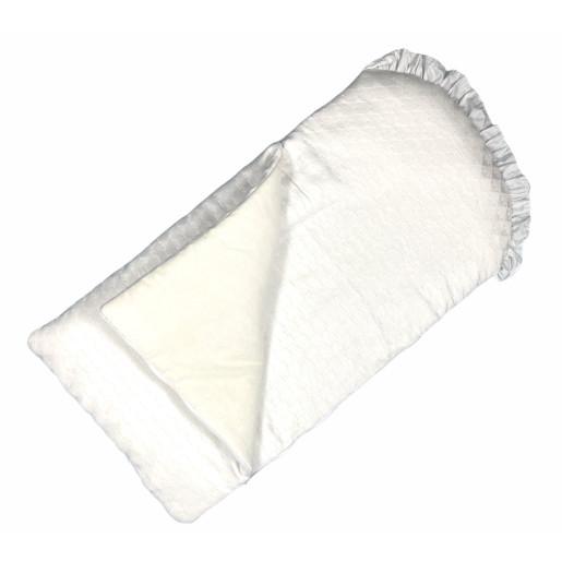 Sac de dormit pentru cărucior și botez, din brocard alb