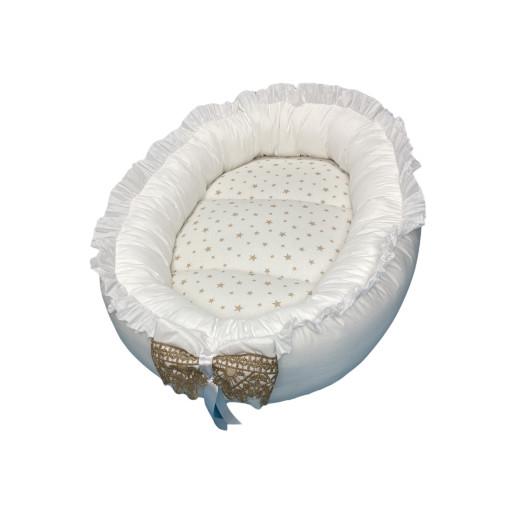 Cuib baby nest bebelusi cu volanase Alb-auriu LUX by Deseda