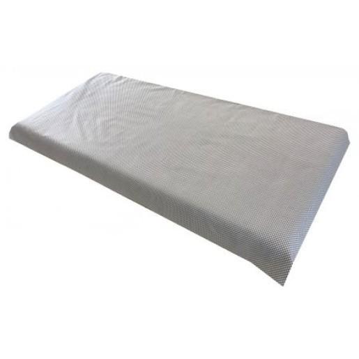 Cearsaf de pat cu elastic roata, imprimeu Gri cu buline albe