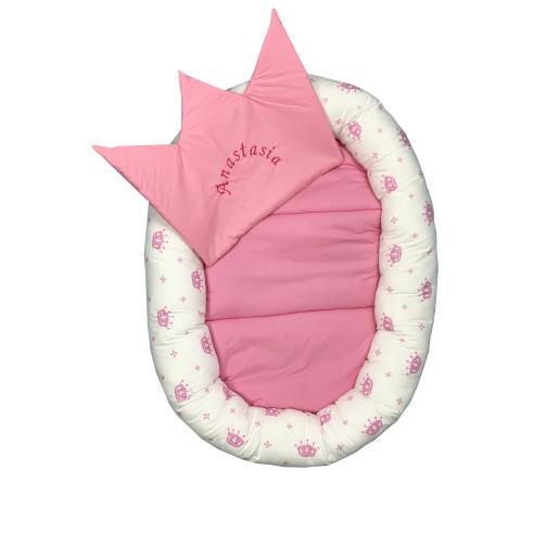 Cuib baby nest bebelusi forma ovala Coronite roz pe alb