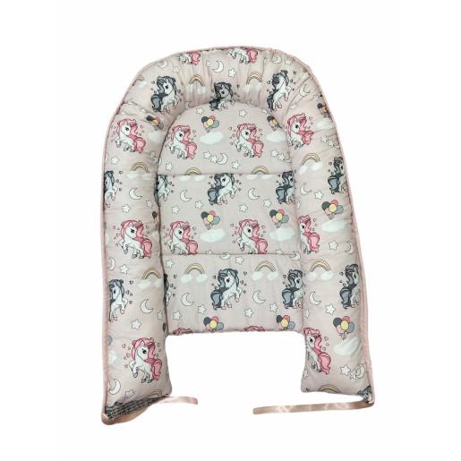 Cuib baby nest bebelusi cu desfacere Roz pudrat- Unicorni