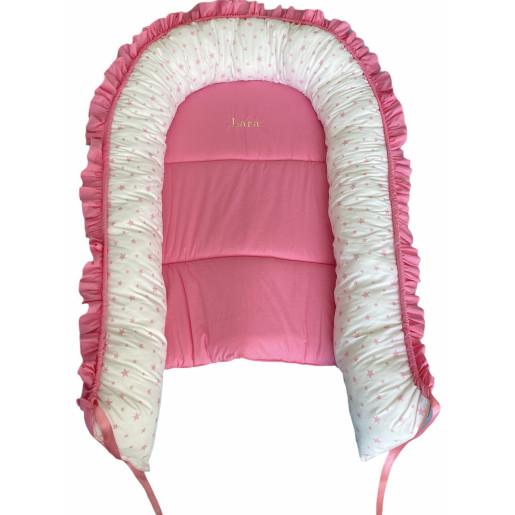 Cuib baby nest bebelusi cu desfacere, salteluta detașabilă si volanase Roz - Steluțe roz pe alb
