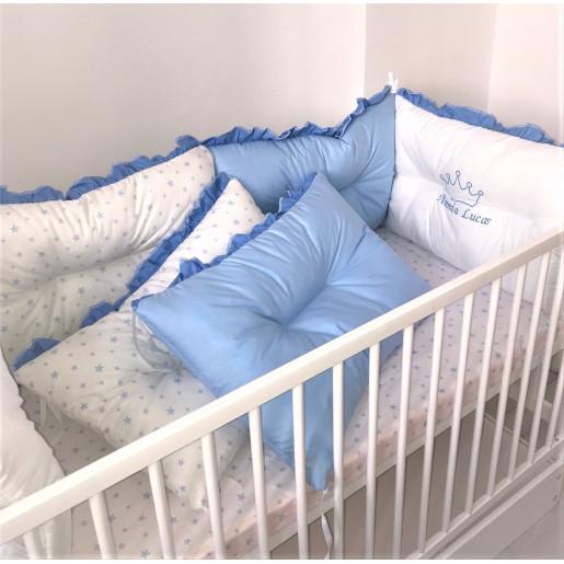 Set de 6 bucati aparatori protectii laterale patut Deseda Albastru- Stelute albastre pe alb