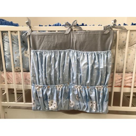 Buzunar organizator patut bebe 60x60 cm Deseda Gri - stelute- norisori albastrii