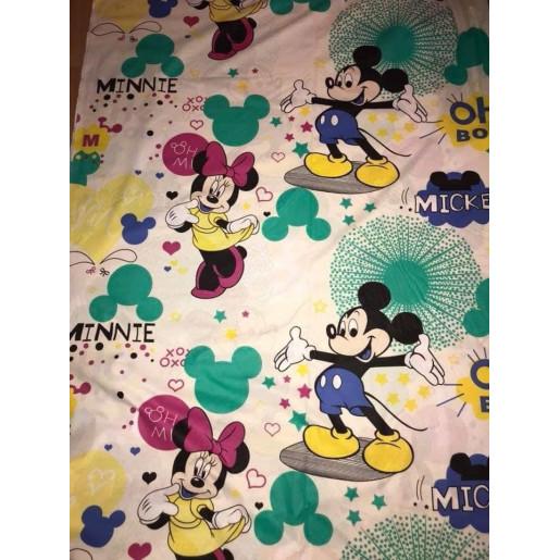 Cearsaf de pat cu elastic roata, imprimeu Mickey alb