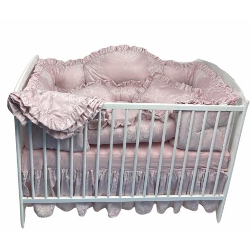 Lenjerie de pat bebe din Jackard Roz pudra LUX by Deseda