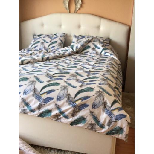 Lenjerie de pat pt 2 persoane Deseda Pene turquise