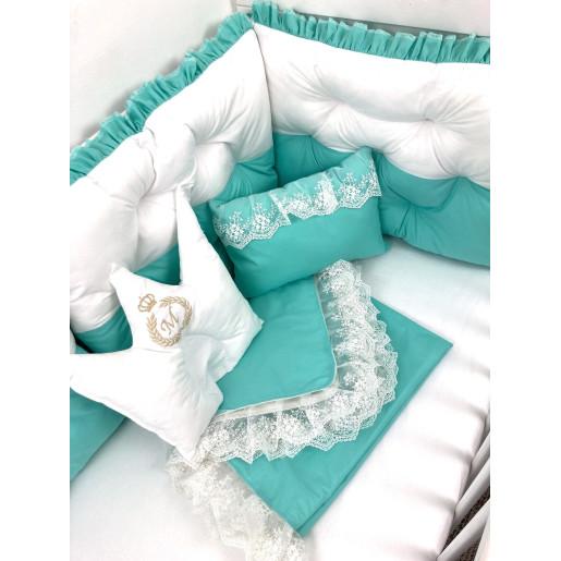 Lenjerie de pat cu 6 apărători matlasate și dantela Finețe 10 piese Verde menta - alb