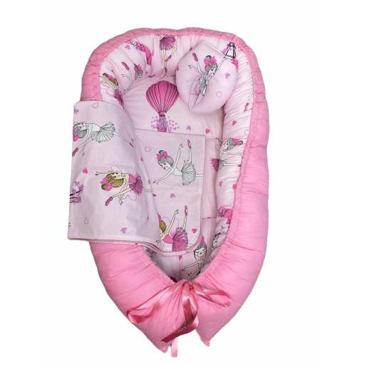 Cuib baby nest bebelusi cu desfacere Roz -Balerine