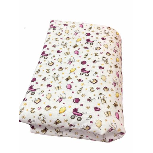 Lenjerie de pat din finet 3 piese Jucarii violet