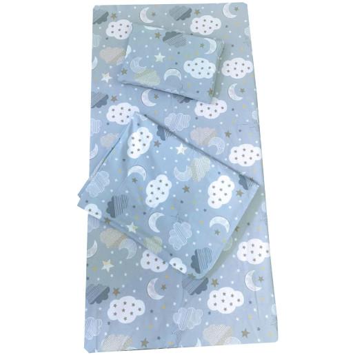 Set 3 piese paturica cu cearsaf si pernuta 120x60 cm Norisori albastrii