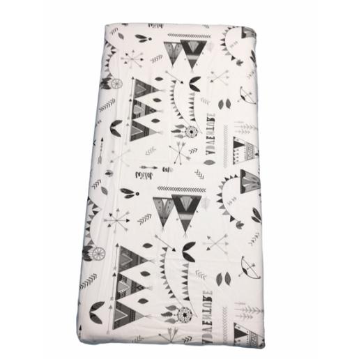 Cearsaf de pat cu elastic roata, imprimeu Corturi indian gri