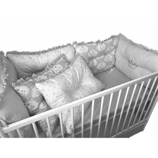 Set de 6 bucati aparatori protectii laterale patut Deseda Gri-Norisori gri-Stelute gri pe alb