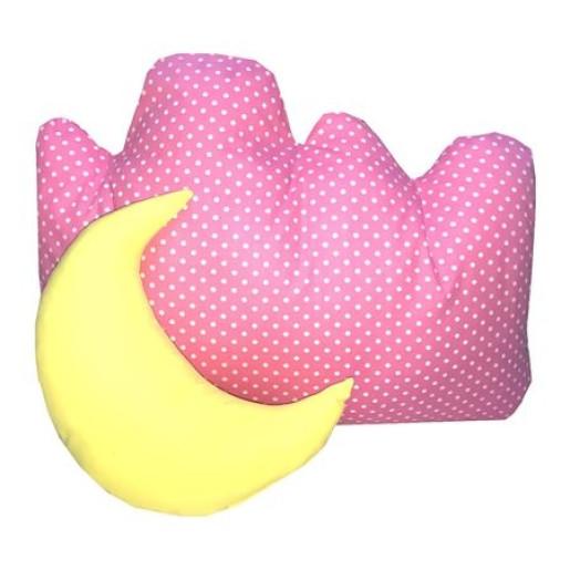 Set 2 perne cu husa detasabila Norisor cu luna buline albe pe roz
