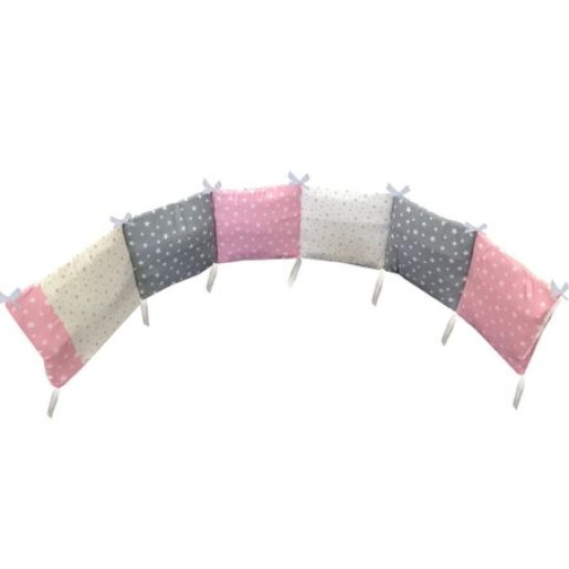 Aparatoare protectii laterale pat pufoase 120x60 cm h28cm Deseda Mix stelute roz