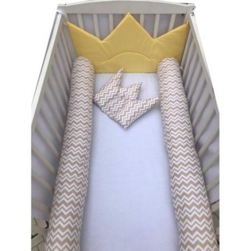 Aparatori laterale protectii pat cu bumper 140x70 cm Deseda Coronita de print