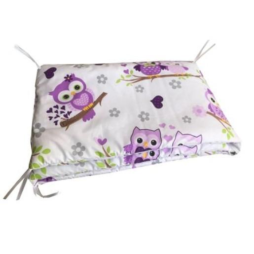 Aparatori laterale protectii laterale pat pufoase 140x70 cm h39cm Deseda Bufnite cu violet