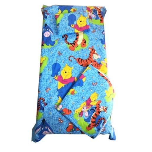 Set Paturica bebe cu Cearsaf si Pernuta pt pat 120x60 cm Distractie cu aiurila albastru