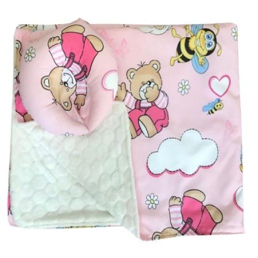 Reductor Personalizat Bebe Bed Nest cu paturica si pernuta antiplagiocefalie Deseda Ursi cu albine pe roz