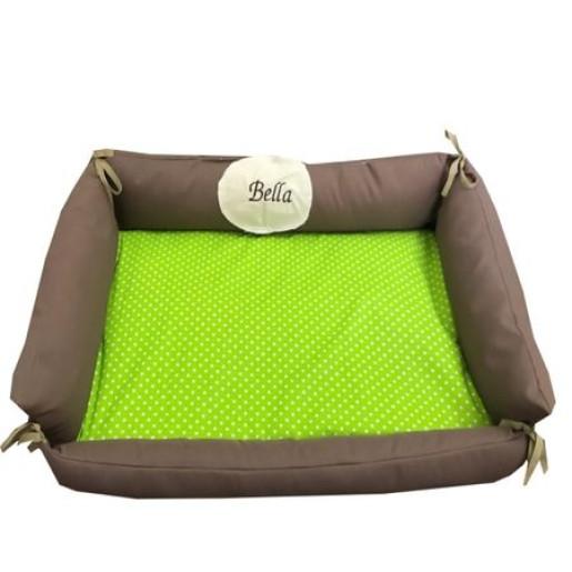 Culcus personalizat multifunctional impermeabil cu saltea pentru caini si pisici Deseda marime M Bulinute pe verde