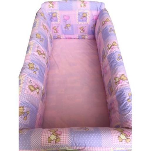 Lenjerie de patut bebelusi 120x60 cm cu aparatori Maxi Ursi in carouri pe roz