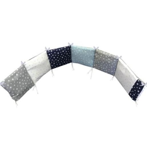 Aparatoare protectii laterale pat pufoase 120x60 cm h28cm Deseda Mix stelute albastre