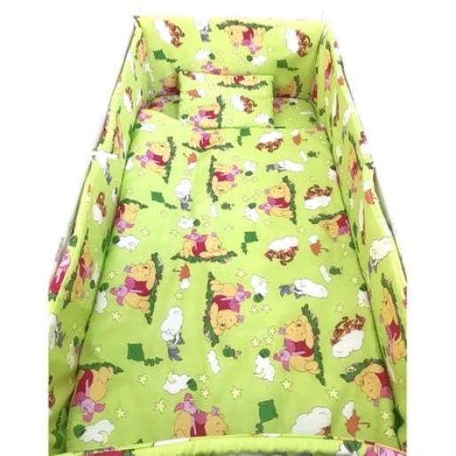 Lenjerie de patut bebelusi 120x60 cm 5 piese cu aparatori laterale pe burete CN Winnie the Pooh verde