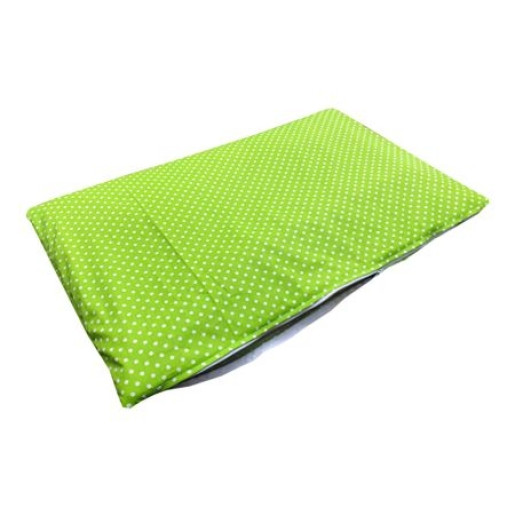 Culcus multifunctional impermeabil cu saltea pentru caini si pisici Deseda marime M Bulinute pe verde