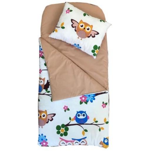 Sac de dormit buzunar de iarna 4-9 ani Deseda Bufnite cu maro