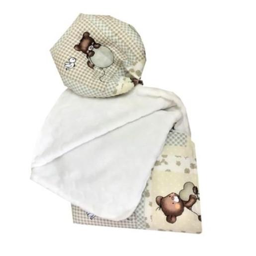 Reductor Bebe Bed Nest cu paturica si pernuta antiplagiocefalie Deseda Ursi in carouri bej