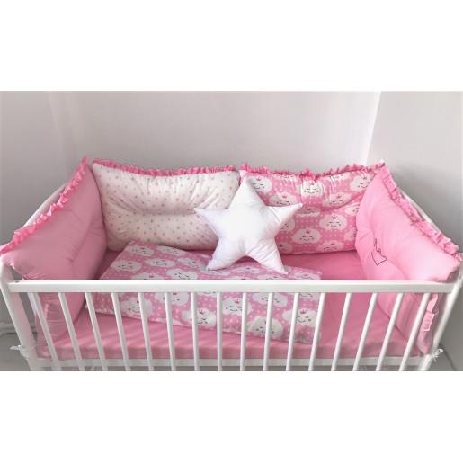 Set de 6 bucati aparatori protectii laterale patut Deseda Roz-Norisori roz-Stelute roz pe alb