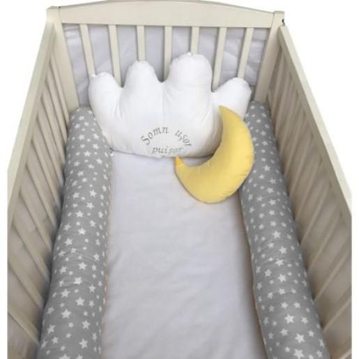 Aparatori laterale protectii pat cu bumper 120x60 cm Deseda Somn usor puisor gri